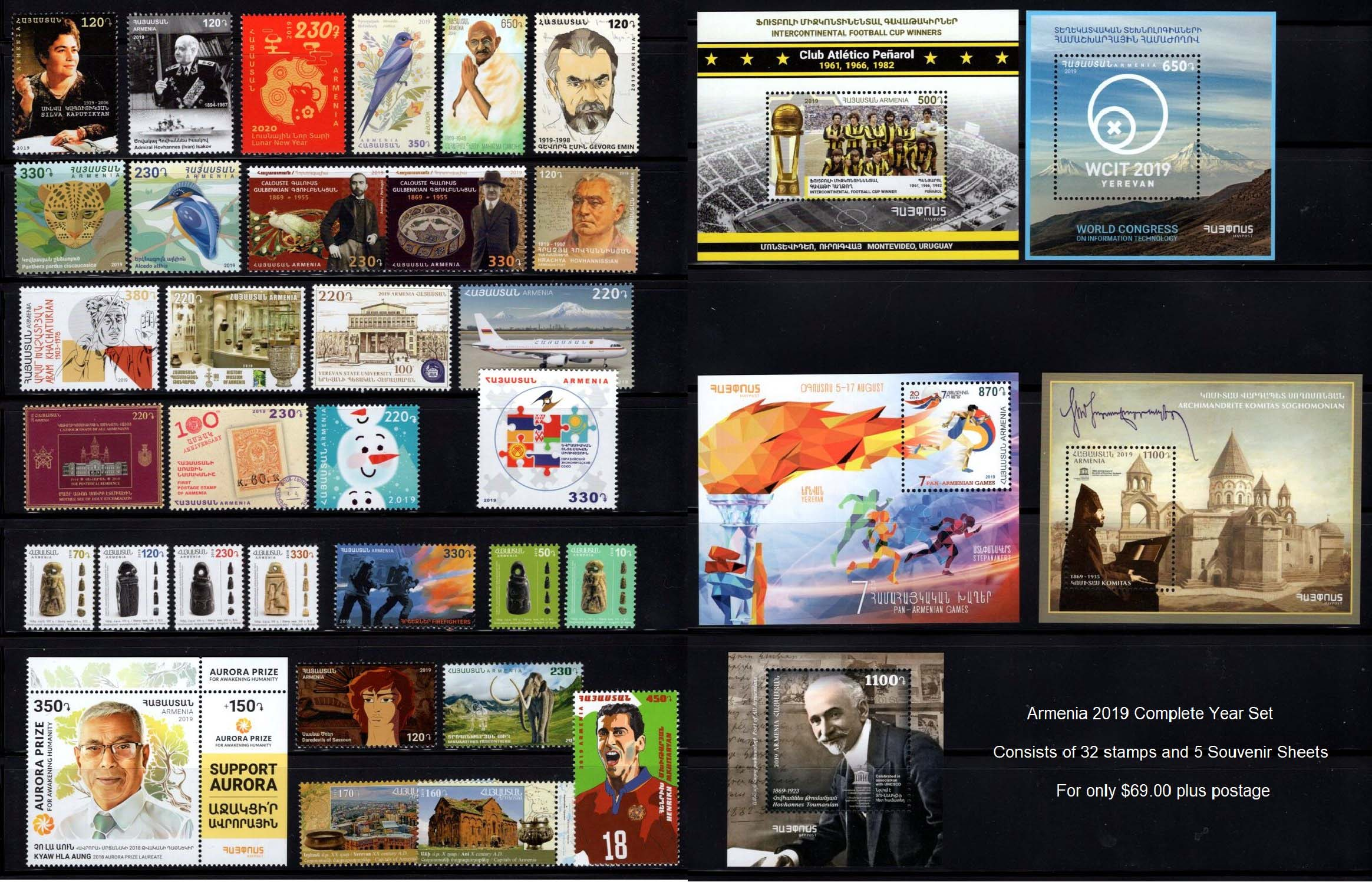 "<font =1-891>Armenia 2019 Complete Year Set.  A total of 32 stamps and 5 Souvenir Sheets  <a href=""/images/Armenia-2019C-YearSet.jpg"">   <font color=green><b><br>View the image</b></a></font>"