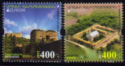 <Font 1-133><br>Artsakh #133-134, Europa 2017, Castles, set of 2 perf<br><a href=&quot;/images/KA-133-134.jpg&quot;>   <font color=green><b>View the image</b></a></font><br>