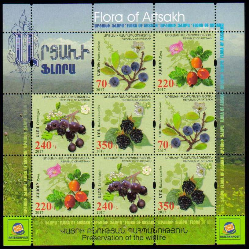 <Font 3-135g><br>Artsakh #135-138, Medical Fruits and Flowers, Combination sheet (very scarce)  <br><a href=&quot;/images/KA-135-138-Combo-Sheet.jpg&quot;>   <font color=green><b>View the image</b></a></font><br>