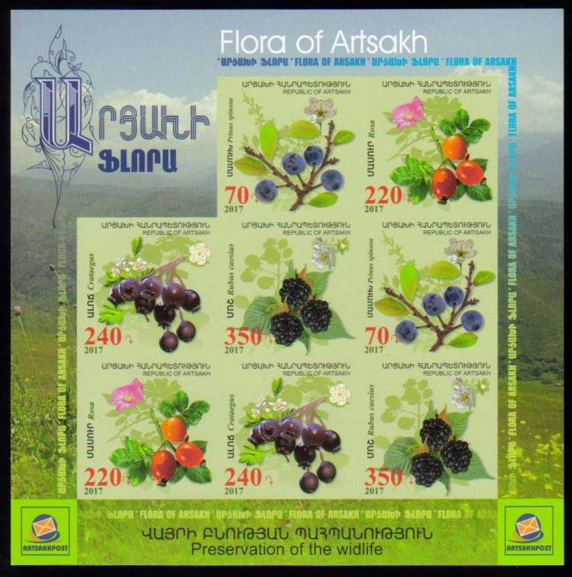 <Font 1-135h><br>Artsakh #135-138, Medical Fruits and Flowers, Imperf Combination sheet  <br><a href=&quot;/images/KA-135-138-Imperf-Combo.jpg&quot;>   <font color=green><b>View the image</b></a></font><br>