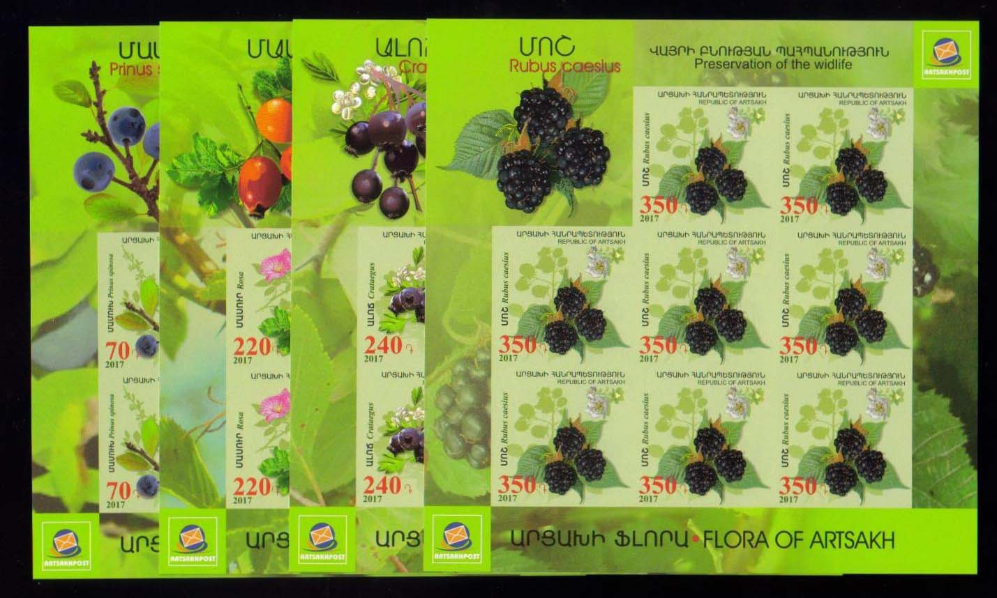 <Font 1-135g><br>Artsakh #135-138, Medical Fruits and Flowers, Imperf Sheets of 8  <br><a href=&quot;/images/KA-135-138-Imperf-Sheets.jpg&quot;>   <font color=green><b>View the image</b></a></font><br>
