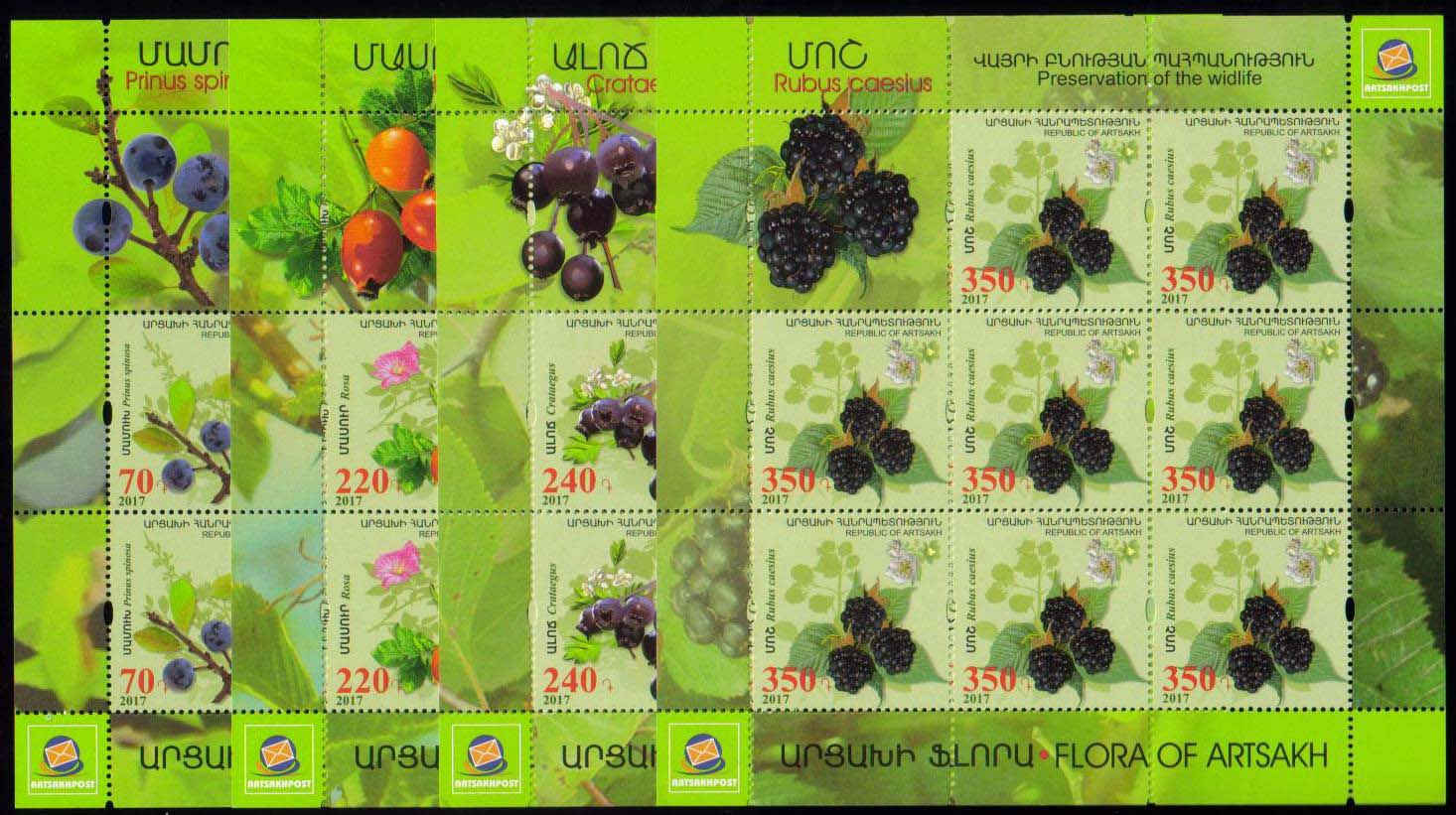 <Font 1-135f><br>Artsakh #135-138, Medical Fruits and Flowers, perf, Sheets of 8  <br><a href=&quot;/images/KA-135-138-Sheets.jpg&quot;>   <font color=green><b>View the image</b></a></font><br>