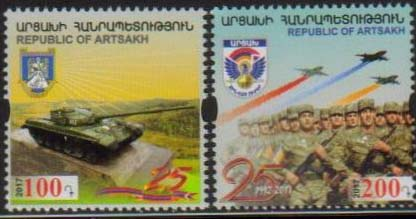 <Font 1-140><br>Artsakh #140-141, 25th Anniversary of Artsakh Army, set of 2 <br><a href=&quot;/images/KA-140-141.jpg&quot;>   <font color=green><b>View the image</b></a></font><br>
