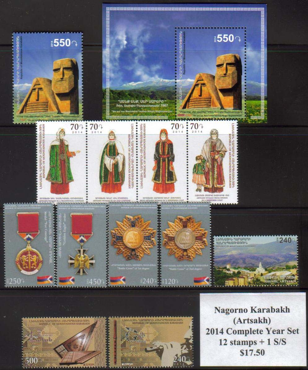 <Font 1-year-2014><br>Artsakh 2014 Complete Year set, 12 stamps and one S/S  <br><a href=&quot;/images/KA-2014-Year.jpg&quot;> <font color=green><b>View the image</b></a></font><br>