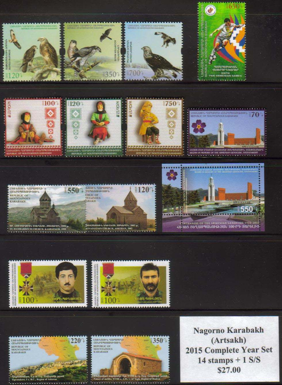 <Font 1-year-2015><br>Artsakh 2015 Complete Year set, 14 stamps and one S/S  <br><a href=&quot;/images/KA-2015-Year.jpg&quot;>   <font color=green><b>View the image</b></a></font><br>