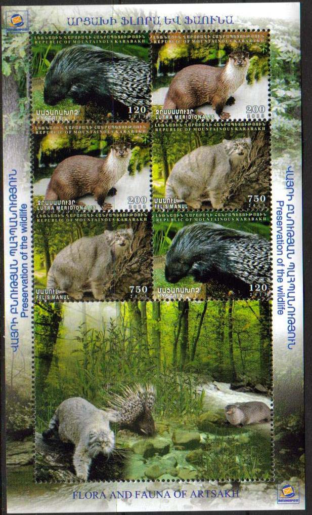 <Font 3-088C><br>Nagorno Karabakh #88-90, 2013 issue, Flora and Fauna of Artsakh<br>Combination sheet of 6 stamps (2 sets)<br><a href=&quot;/images/KA-88-90-BL2.jpg&quot;>   <font color=green><b>View the image</b></a></font><br>